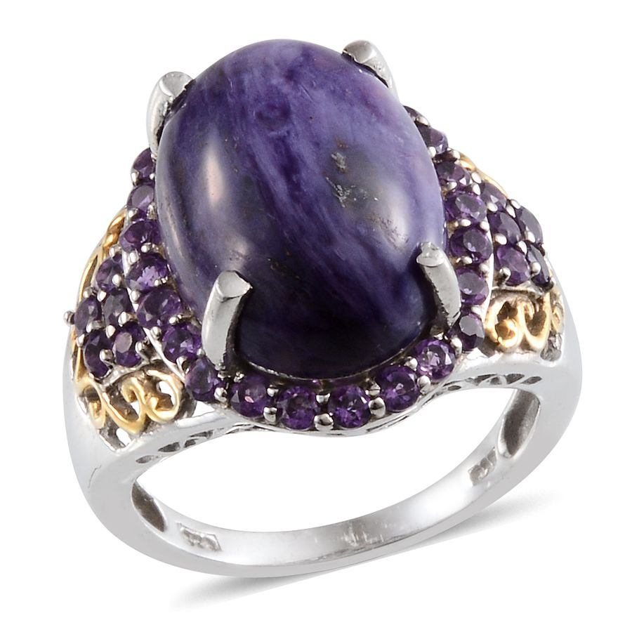Siberia Platinum: Siberian Charoite, Amethyst 14K YG And Platinum Over