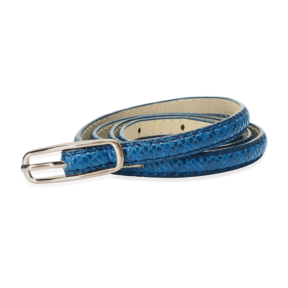 Classic Blue Snake Print Faux Leather Belt (31-36 in)