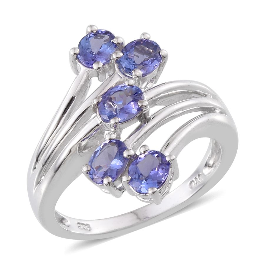 tanzanite platinum sterling silver 5 ring size