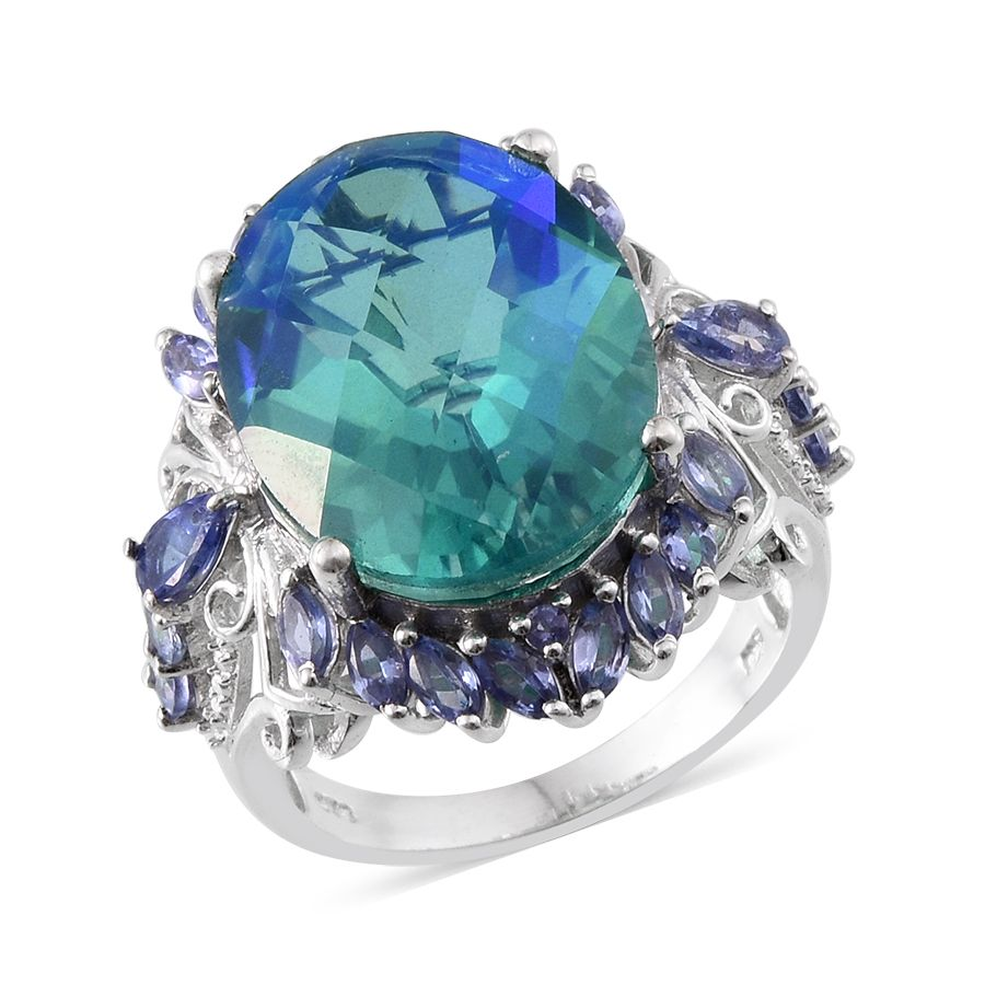 untreated peacock cushion cut gemstones ring colored diamond and estate jewelry s image m tanzanite carats