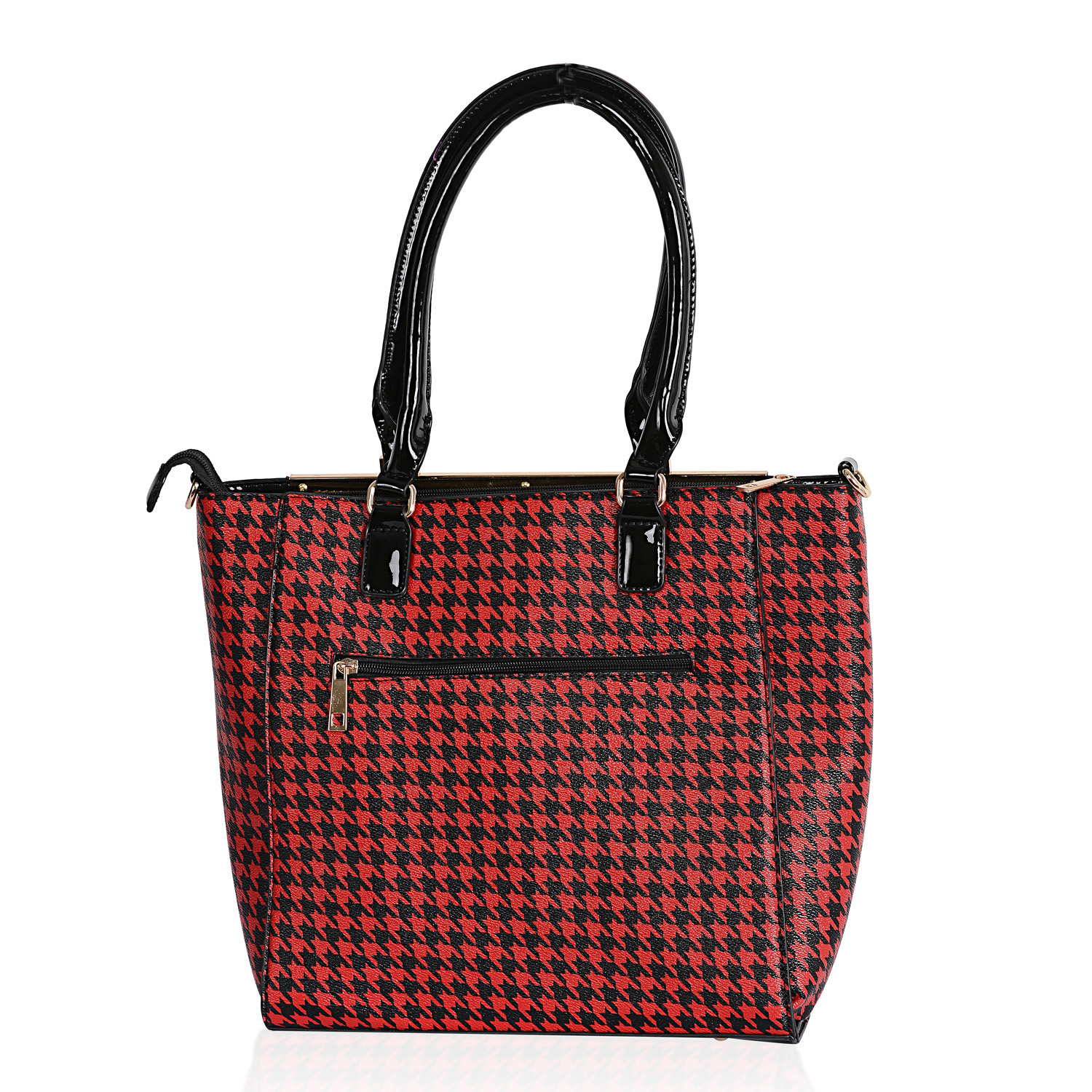 2568258e17b6 Black and Red Houndstooth Print Vegan Leather Handbag (14x5x12 in ...