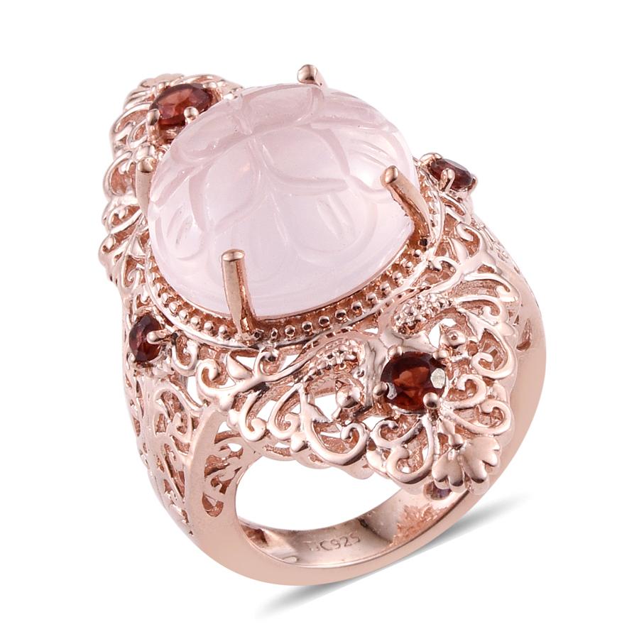 Royal Jaipur Galilea Rose Quartz, Mozambique Garnet, Ruby 14K RG ...