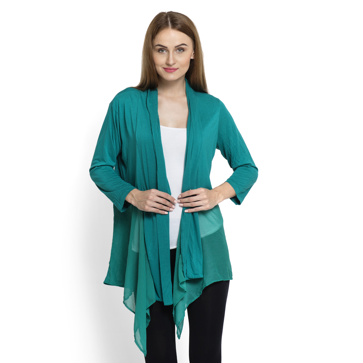 Teal 100% Viscose Long Sleeve Cardigan with Chiffon Trim (Free ...