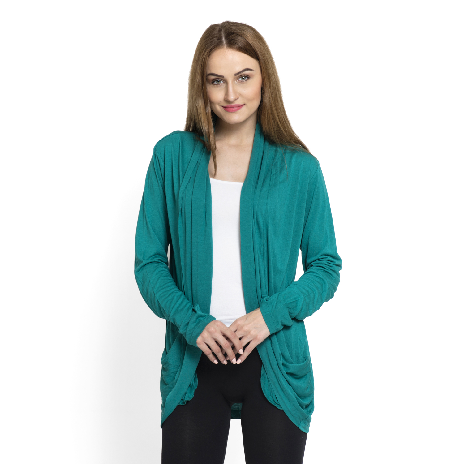 Teal 100% Viscose Waterfall Cardigan (Free Size) | cardigans ...