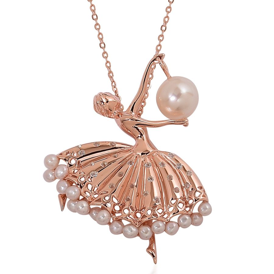 Pearl expressions freshwater pearl white topaz 14k rg over sterling pearl expressions freshwater pearl white topaz 14k rg over sterling silver ballerina pendant with chain 18 in tgw 0250 cts 2535719 aloadofball Choice Image