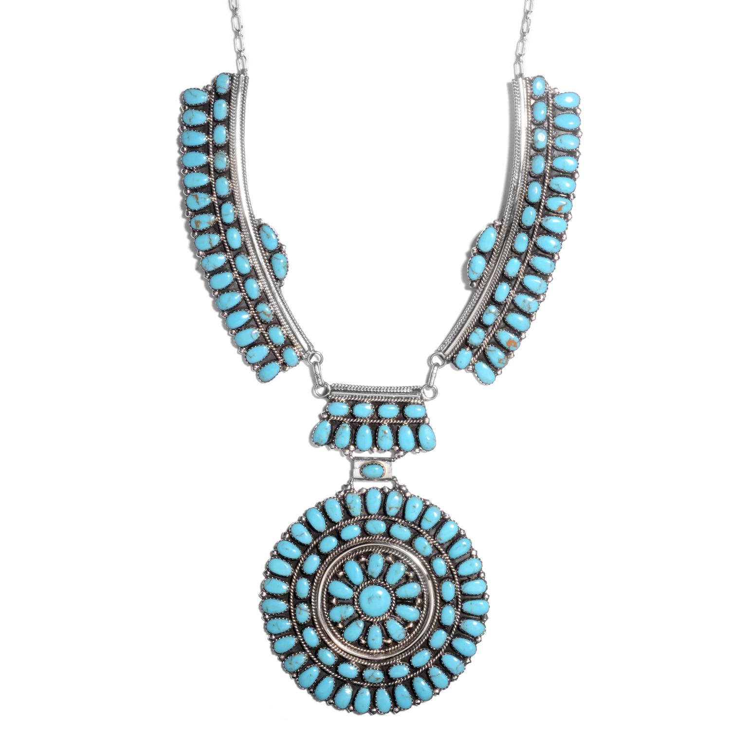 santa fe style stabily turquoise sterling silver concho