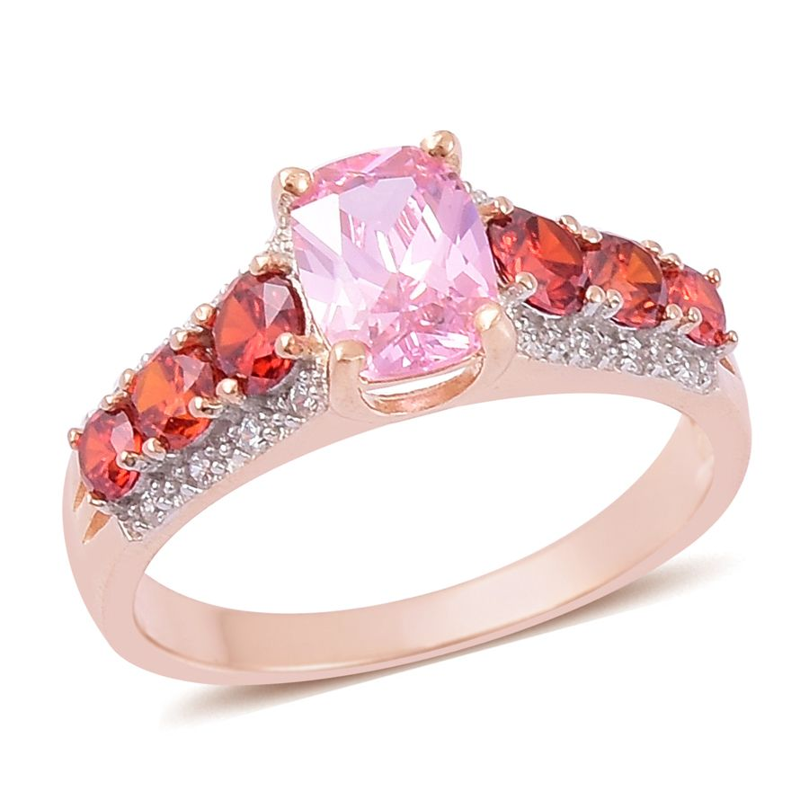 Simulated Multi Color Diamond 14K RG Over Sterling Silver Ring (Size ...