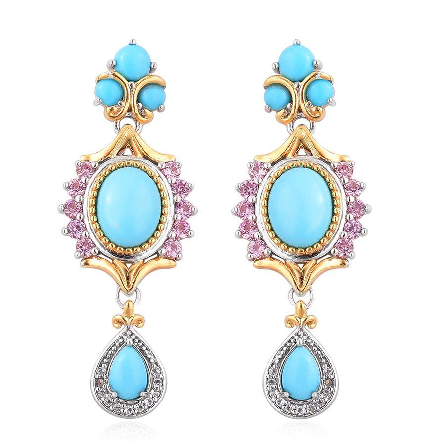 Arizona Sleeping Beauty Turquoise, Pink Sapphire, White Topaz 14k Yg Over  And Sterling Silver Dangle Earrings Tgw 5140 Cts  Drop  Earrings   Jewelry