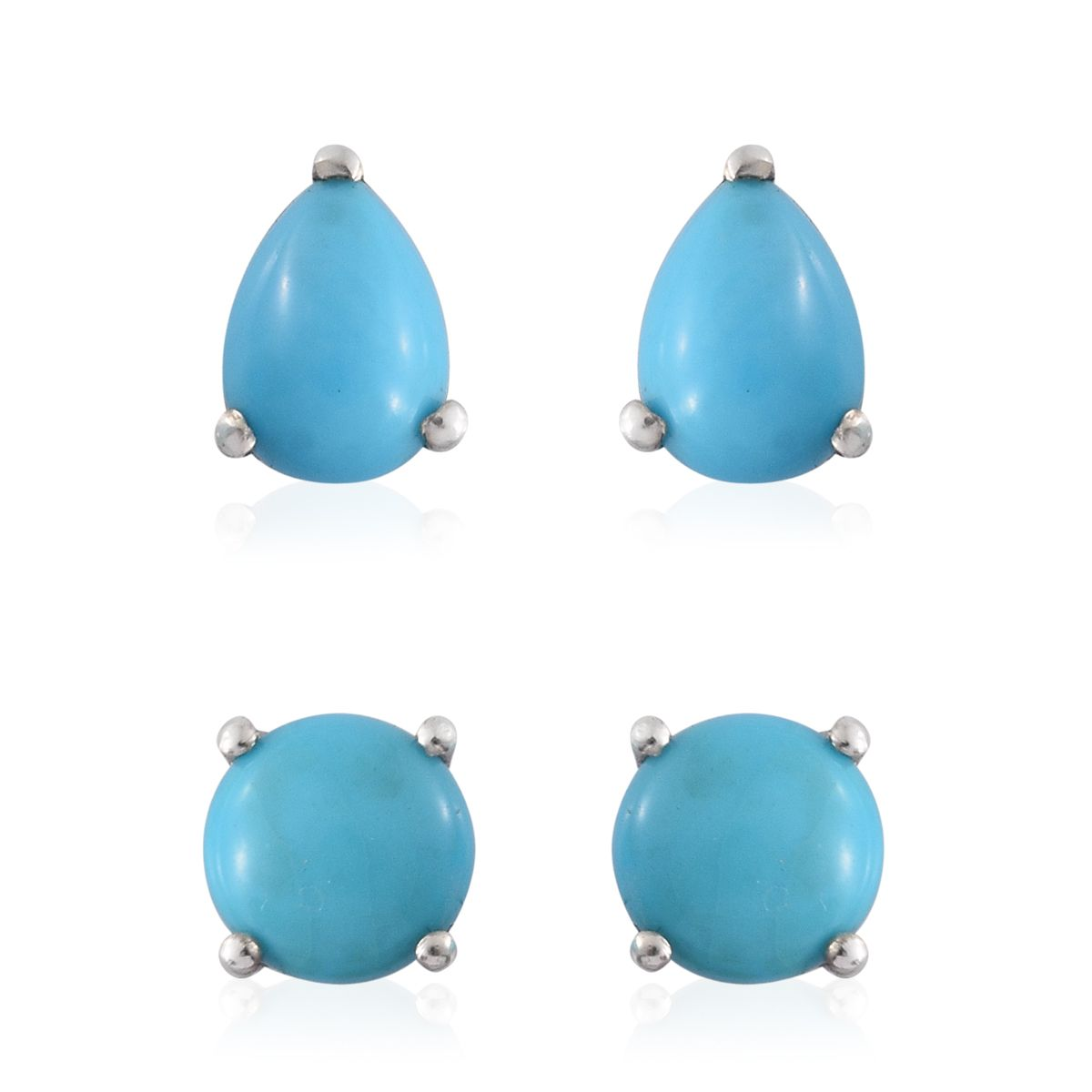 Set Of 2 Arizona Sleeping Beauty Turquoise Platinum Over Sterling Silver  Pear And Round Stud Earrings Tgw 230 Cts