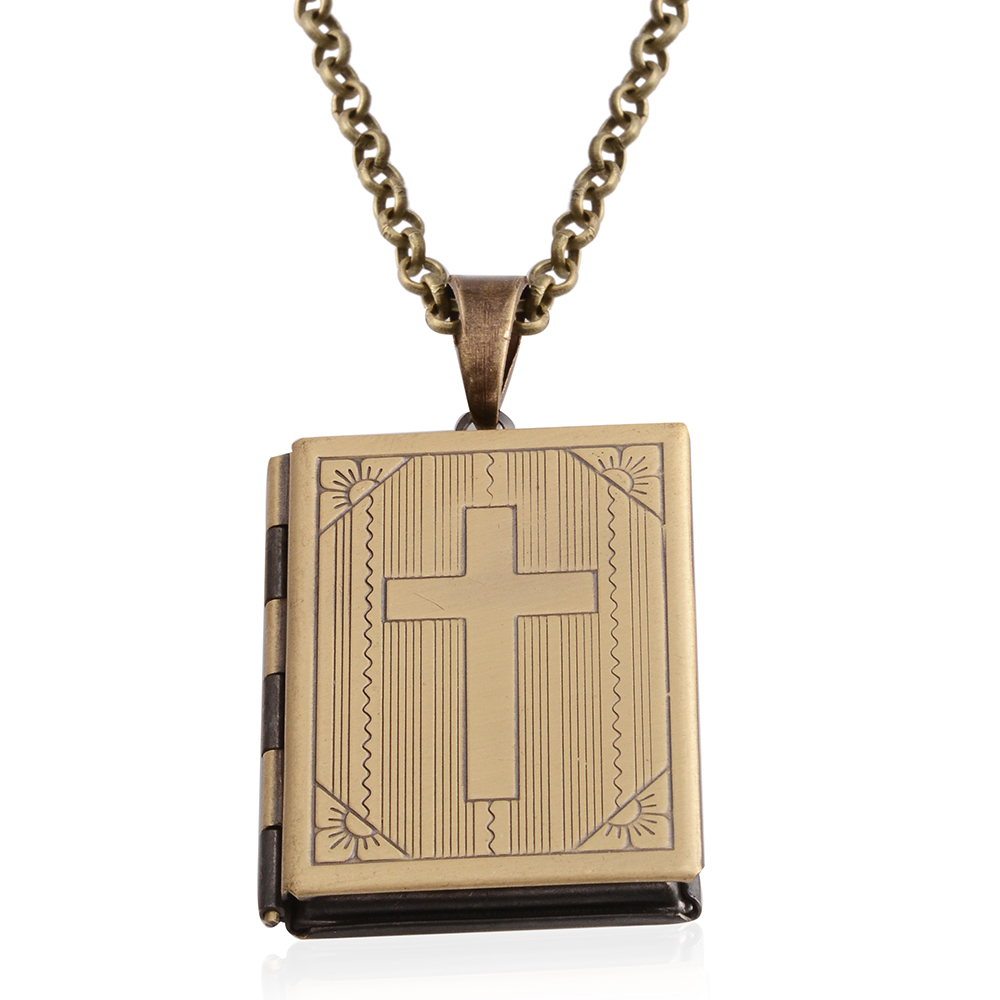 brasstone holy bible locket pendant with chain 28 in
