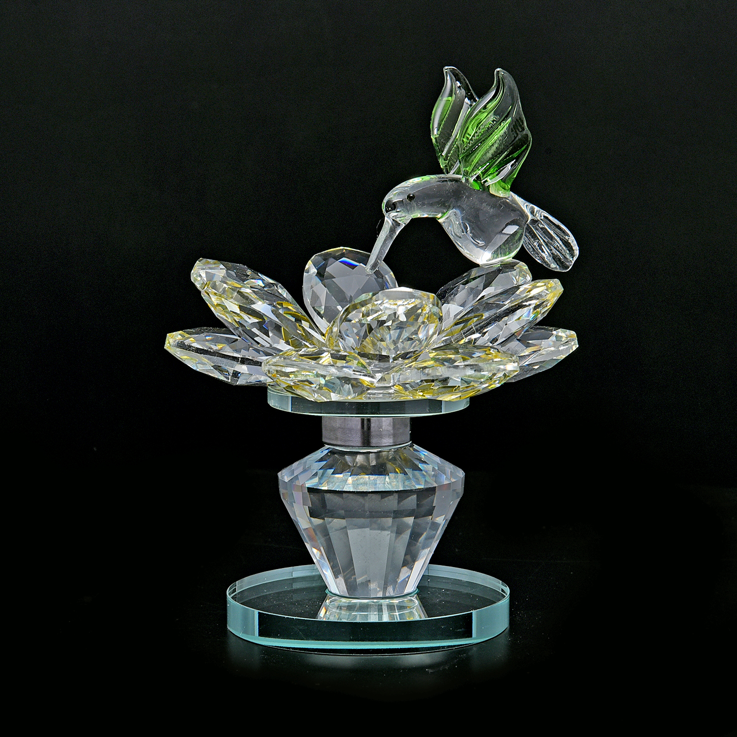 Yellow glass rotatable crystal lotus flower with Crystal home decor