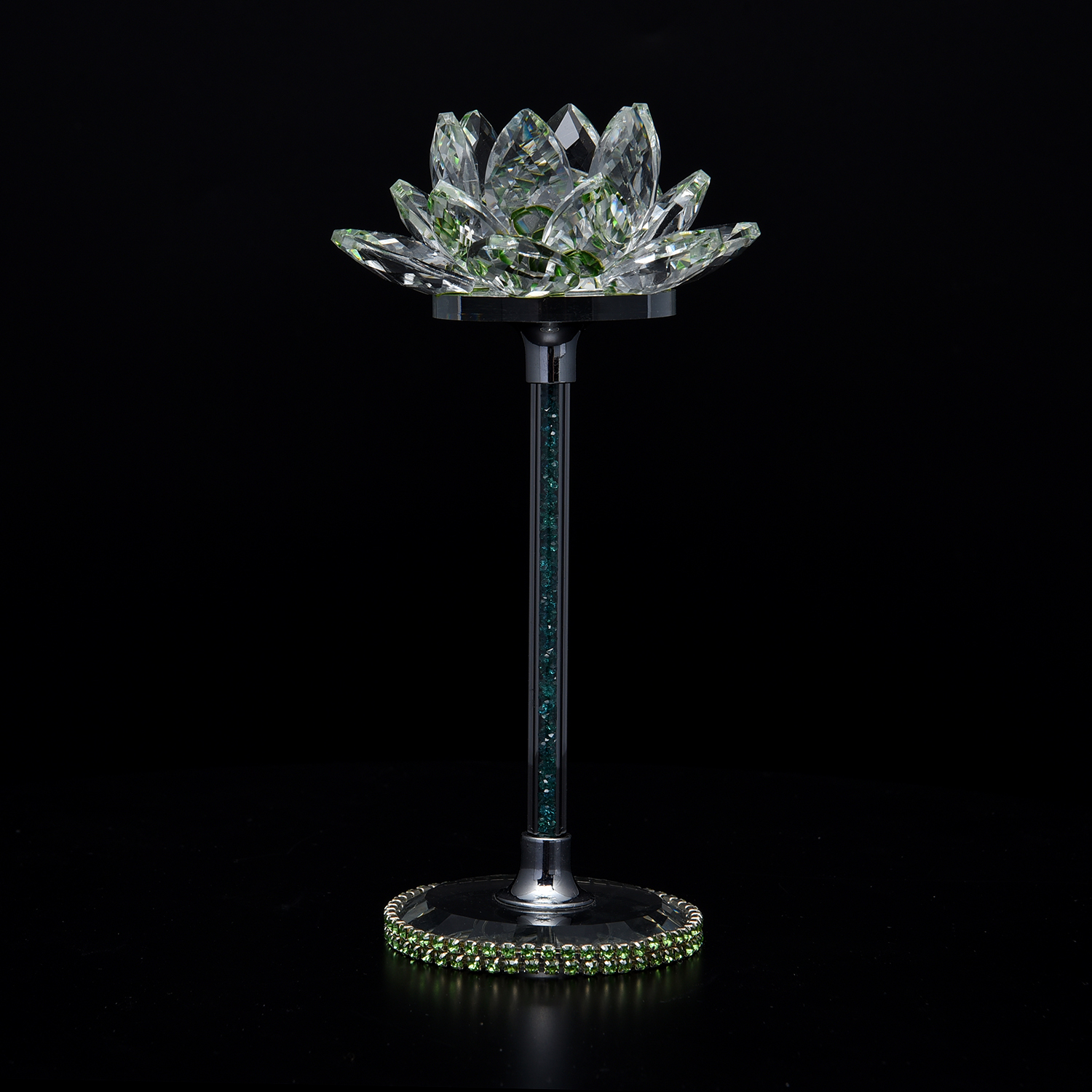Green glass crystal lotus flower decor crystal decor Crystal home decor