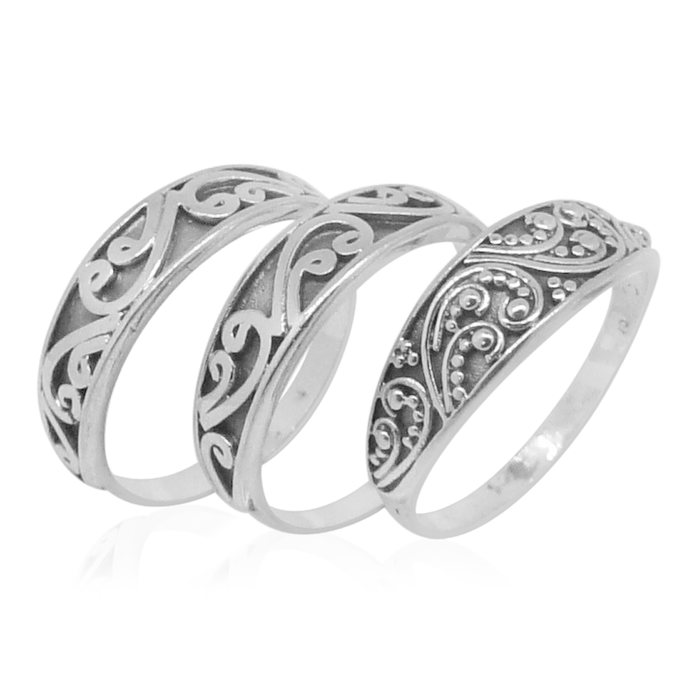 bali legacy collection set of 3 sterling silver stackable