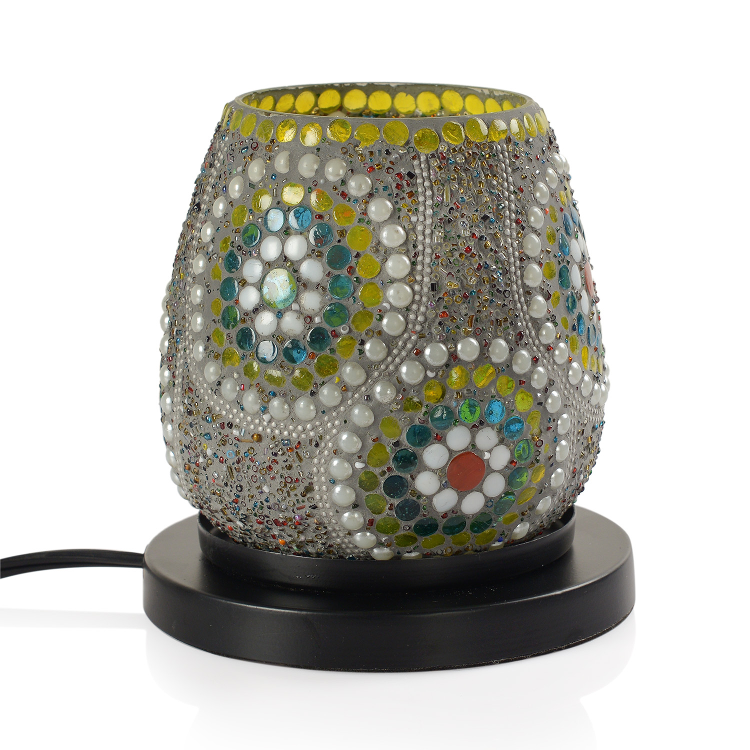 Himalayan Salt Lamp Multicolor : One Day TLV Handcrafted Multi Color Floral Design Mosaic Electric Lamp with Himalayan Salt (4.5 ...