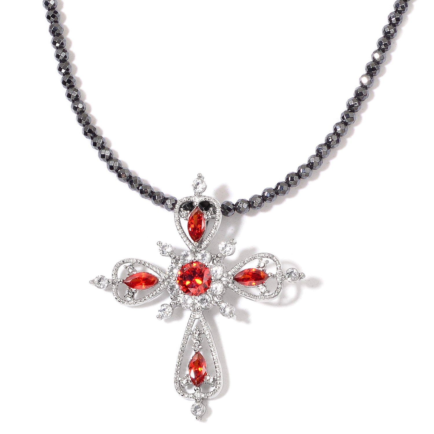 Mothers day special hematite simulated red and white diamond mothers day special hematite simulated red and white diamond stainless steel cross pendant with necklace 18 in tgw 5600 cts 2736385 aloadofball Gallery