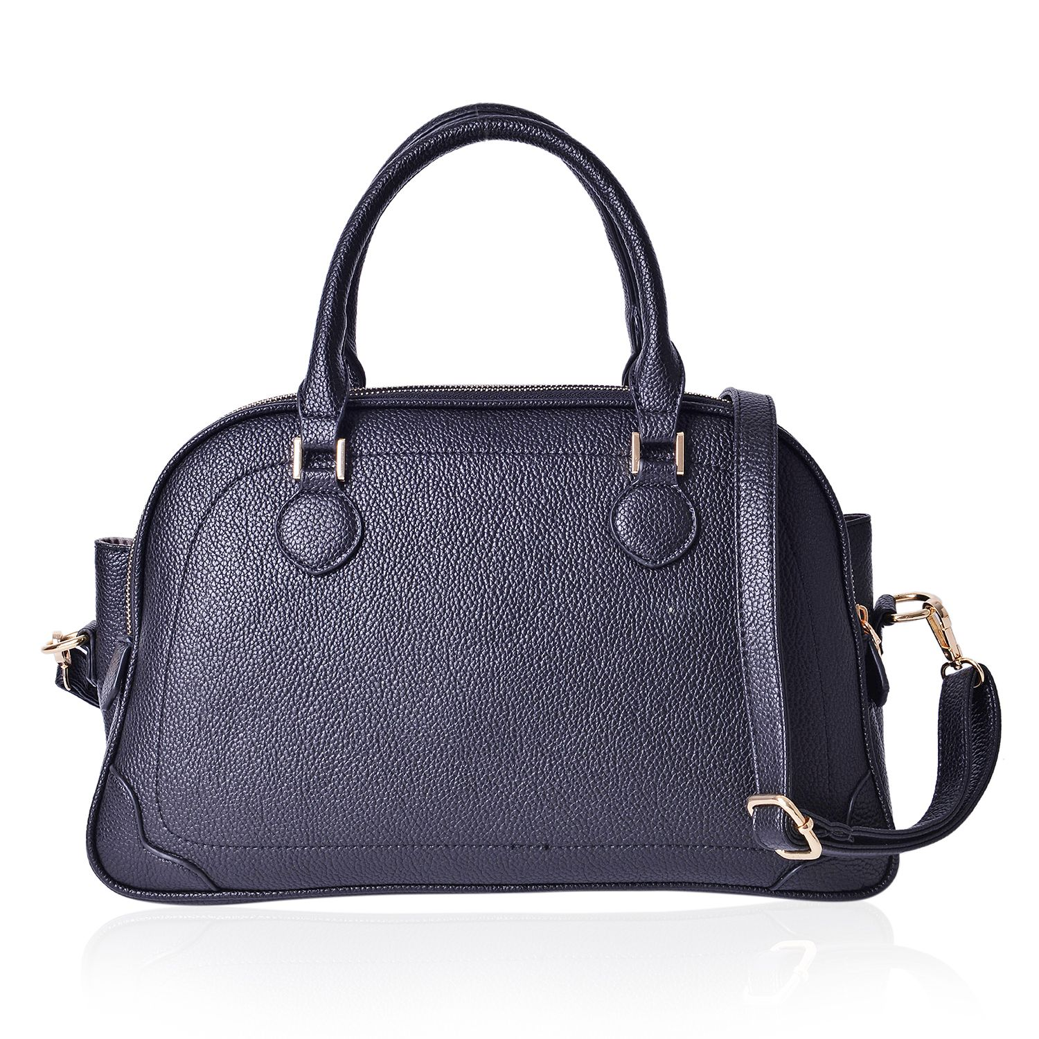 bd56e08cc5e7c6 Black Faux Leather Side-to-side Trapezoid Bag with Removable Shoulder Strap  (14x5x9 in) | Large | Handbags | Fashion-Accessories | online-store | Shop  LC
