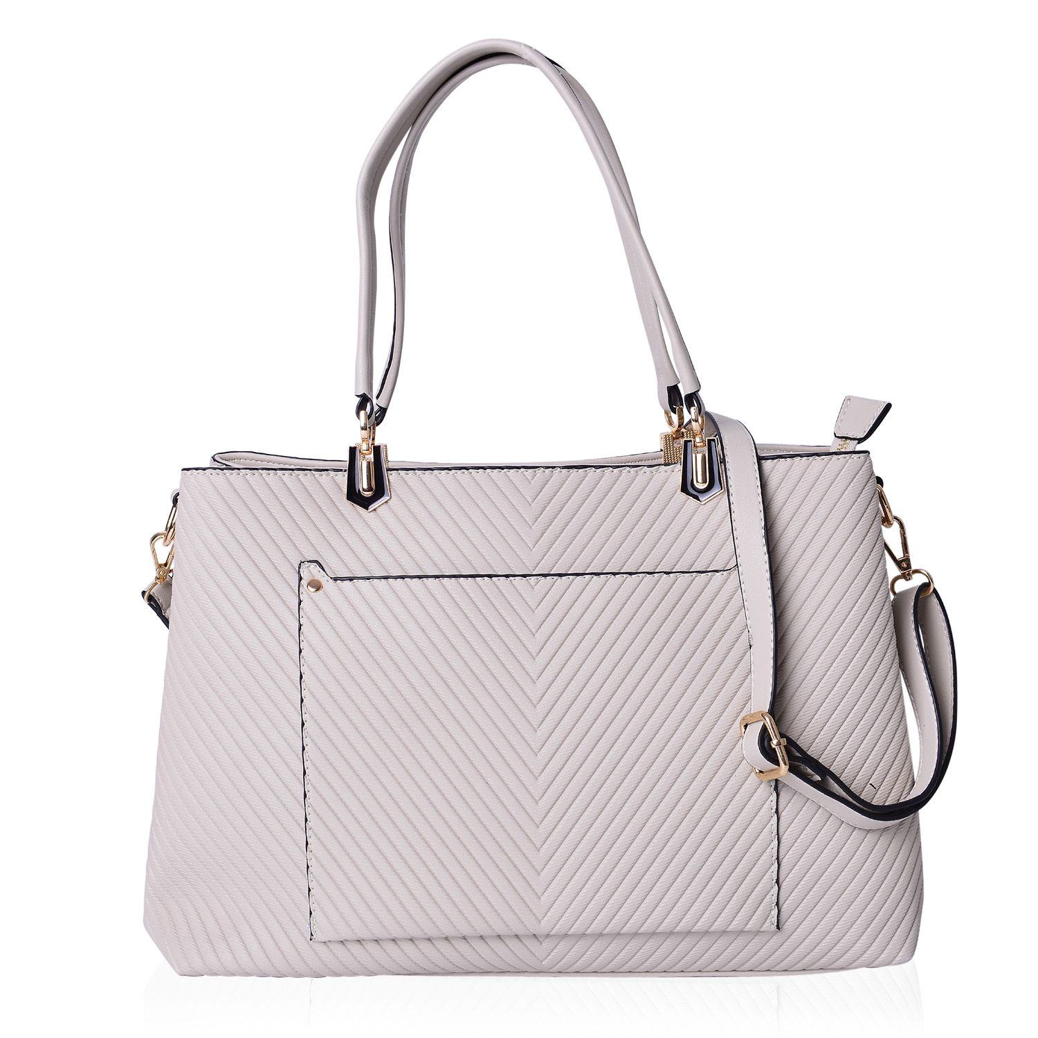 a093b36ebaf0 Cream Chevron Faux Leather Structured Tote Bag with Standing Studs and  Removable Shoulder Strap (15x5x10.5 in)