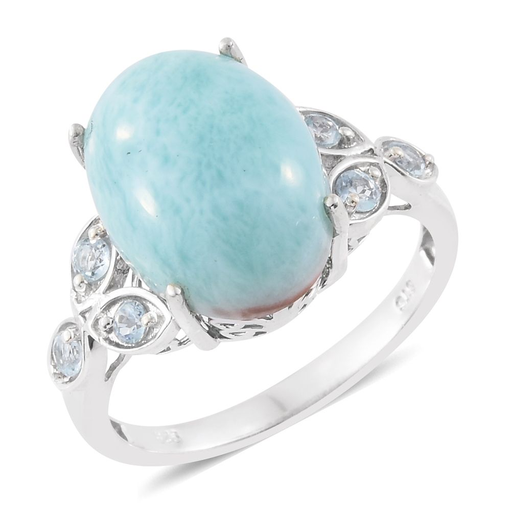 3a76fb797 Sea Mist Larimar, Sky Blue Topaz Platinum Over Sterling Silver Ring (Size  10.0) TGW 10.50 cts. | Fashion | Rings | Jewelry | online-store | Shop LC