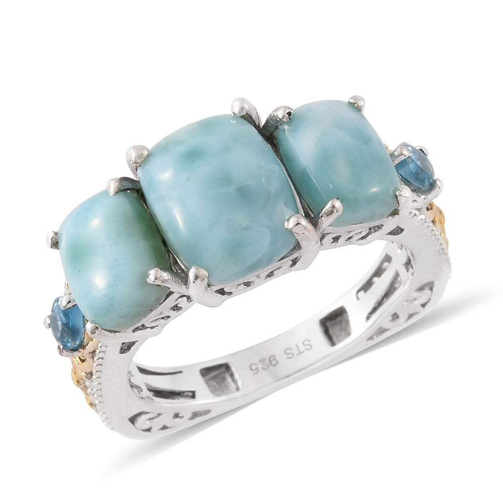 d135c554d Sea Mist Larimar, Electric Blue Topaz 14K YG and Platinum Over Sterling  Silver Euro Ring (Size 10.0) TGW 7.58 cts. | Larimar | Non-Birthstones |  Promotions ...
