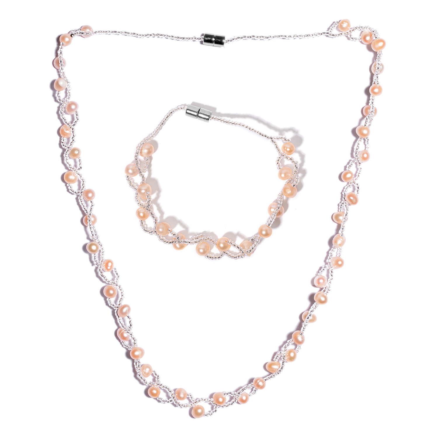 Peach Pearl Necklace: Peach Pearl Silvertone Women Bracelet 8 In And Necklace 20