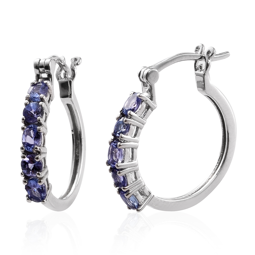 tanzanite platinum sterling silver hoop earrings tgw