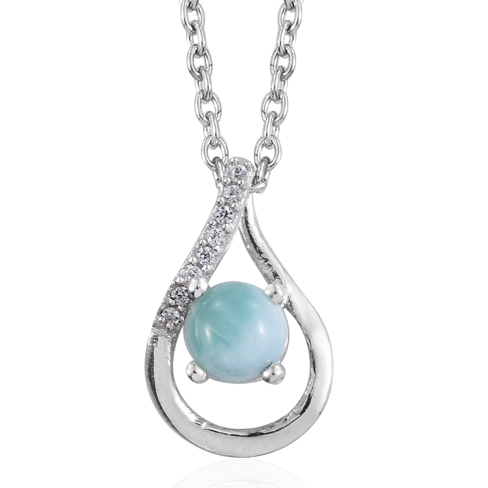 fc9fc3bc2 Sea Mist Larimar, Cambodian Zircon Platinum Over Sterling Silver Drop  Pendant With Stainless Steel Chain (20 in) TGW 0.69 cts. | Shop LC