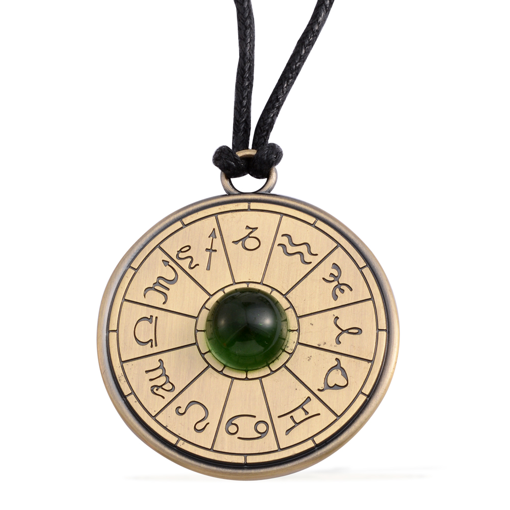 Astrology Talisman Amulet Green Glass Goldtone Gift Pendant on Black Cord 24″