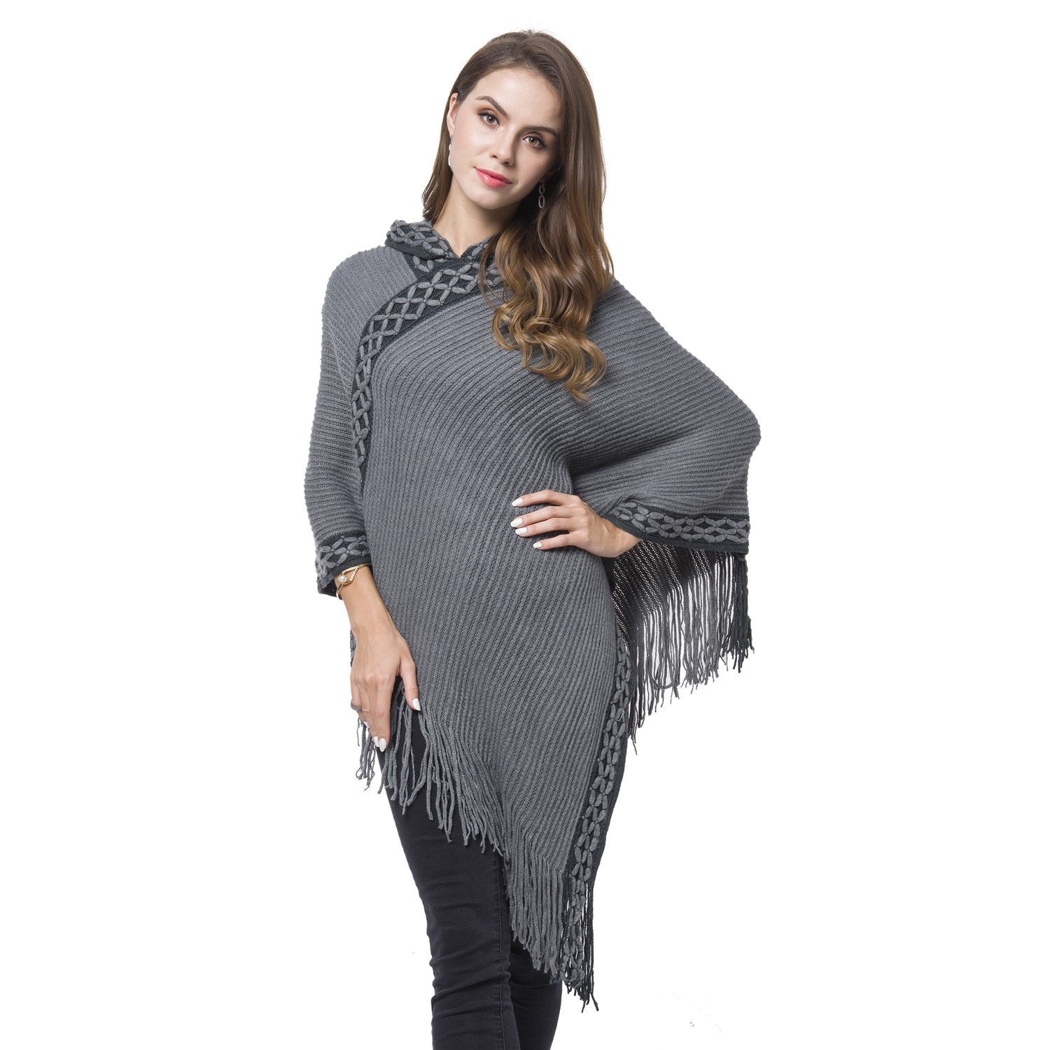 Black and grey 100 acrylic knitted pattern hooded poncho 3622 black and grey 100 acrylic knitted pattern hooded poncho 3622x3937 in 2879421 bankloansurffo Image collections