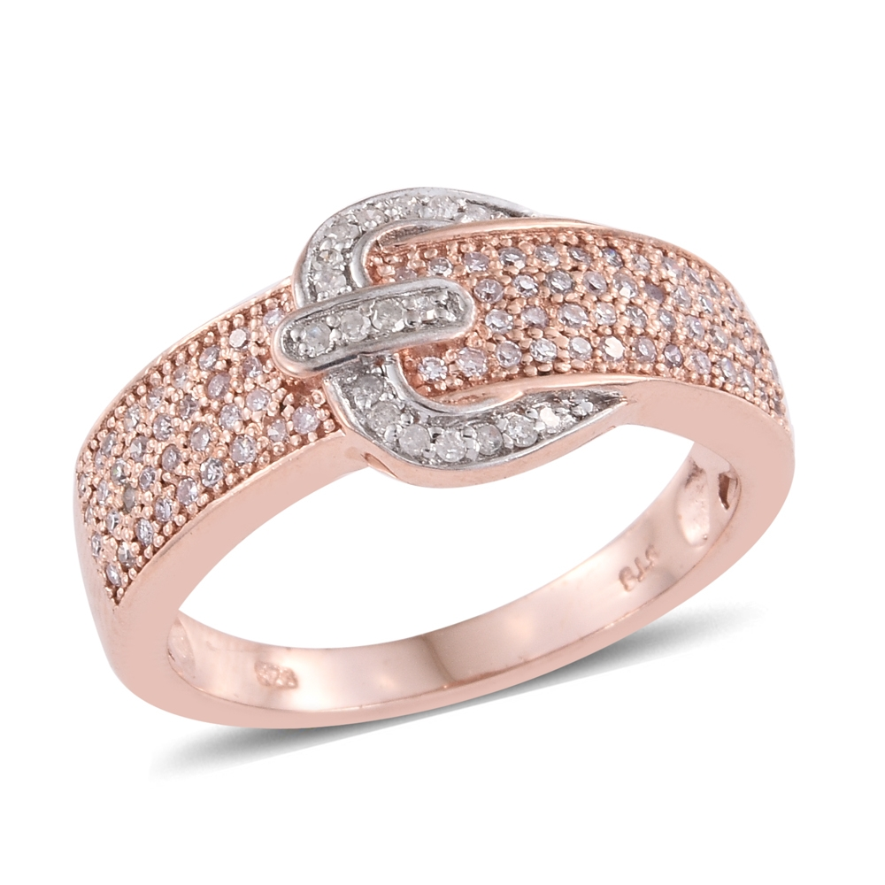 Diamond, Natural Pink Diamond 14K RG Over Sterling Silver Buckle ...