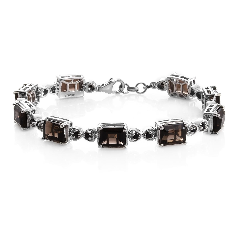 Brazilian Smoky Quartz Thai Black Spinel Platinum Over Sterling Silver Bracelet 7 50 In