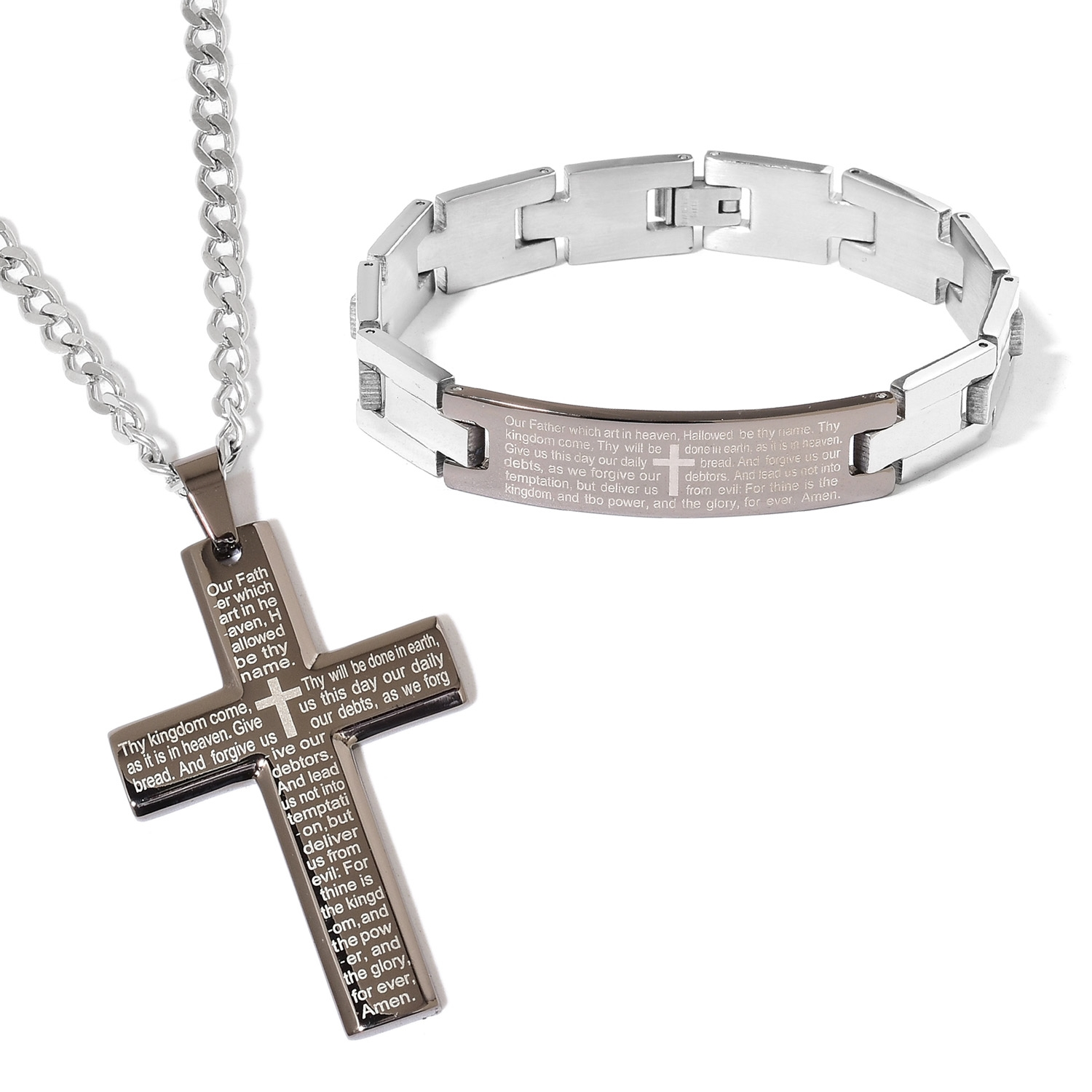 Doorbuster ION Plated Black Stainless Steel Bracelet (8.50 in) and Cross Pendant With Chain (24.00 In)