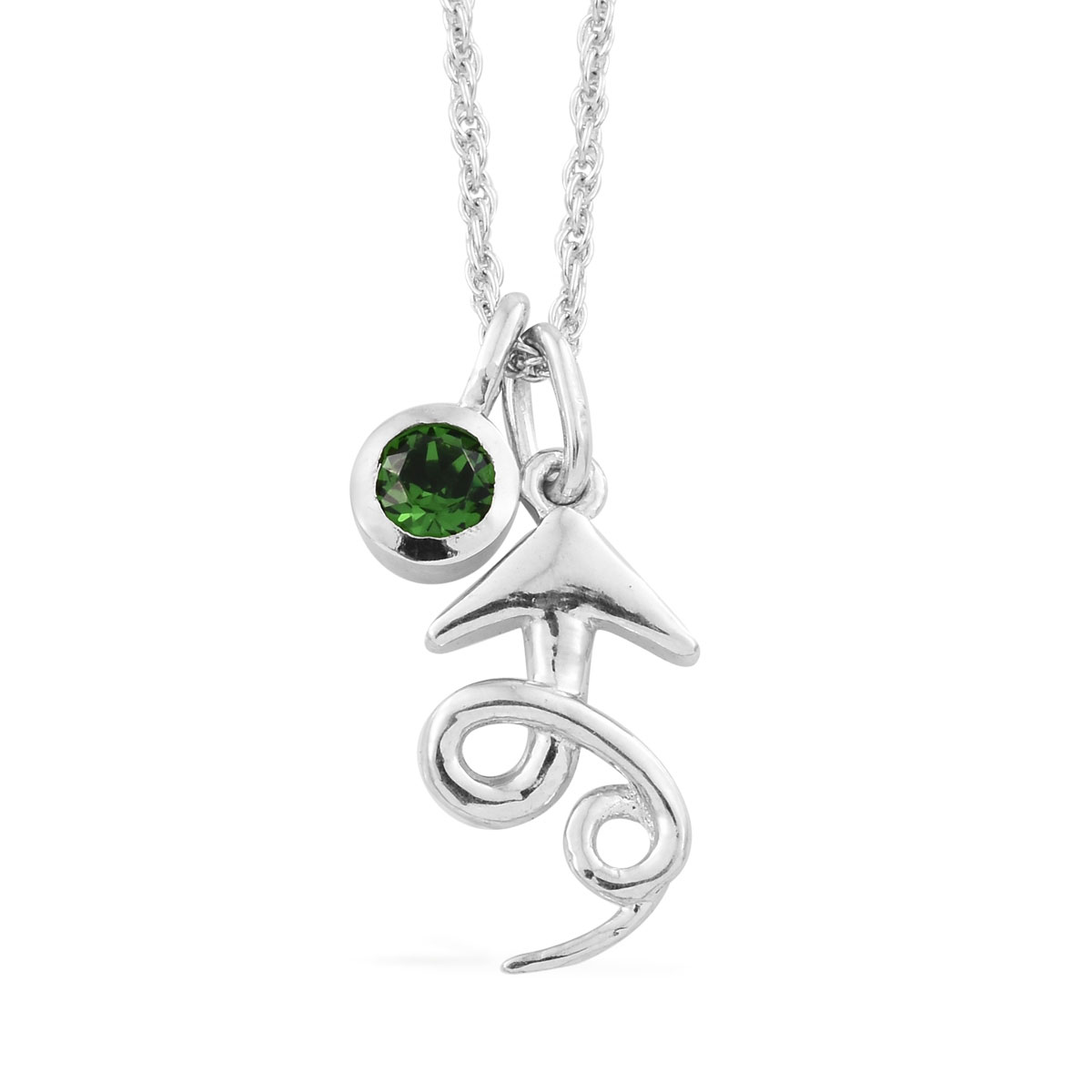 KASI Collection - Always Rise Platinum Over Sterling Silver Pendant and Charm with Chain (16 in) Made with SWAROVSKI Crystal TGW 0.25 cts.