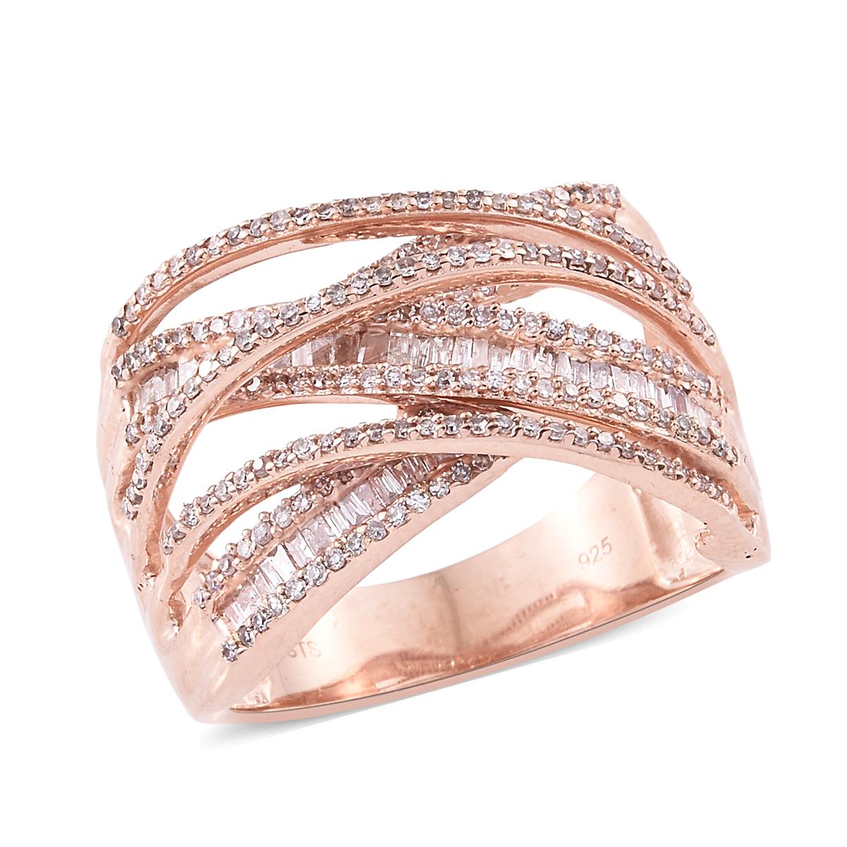 Natural Pink Diamond Vermeil RG Over Sterling Silver Criss Cross ...