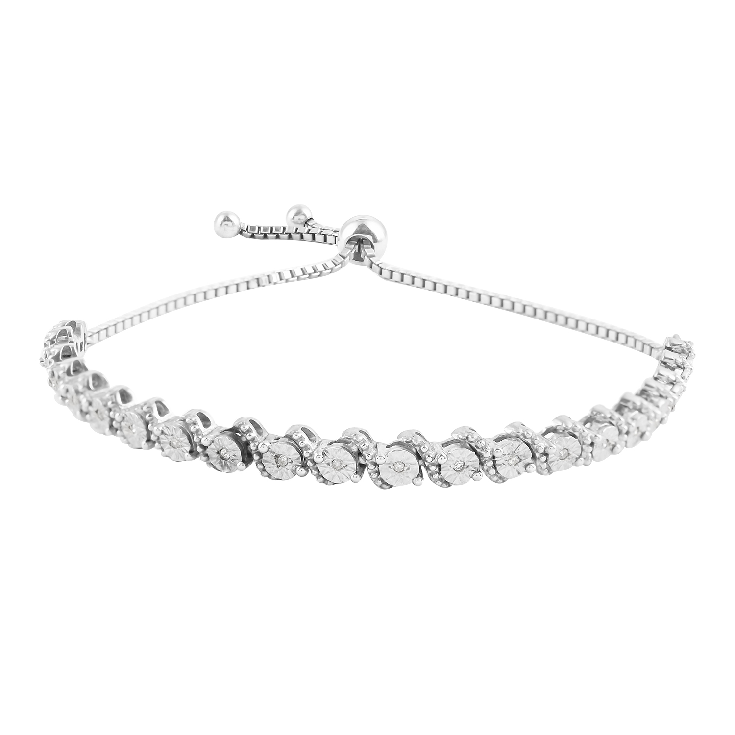 bolo silver platinum bracelet itm adjustable diamond in sterling over tdiaw