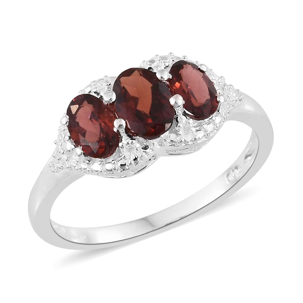 Garnet Bands: 925 Sterling Silver 2 Cttw Oval Garnet 3 Stone Gift Ring