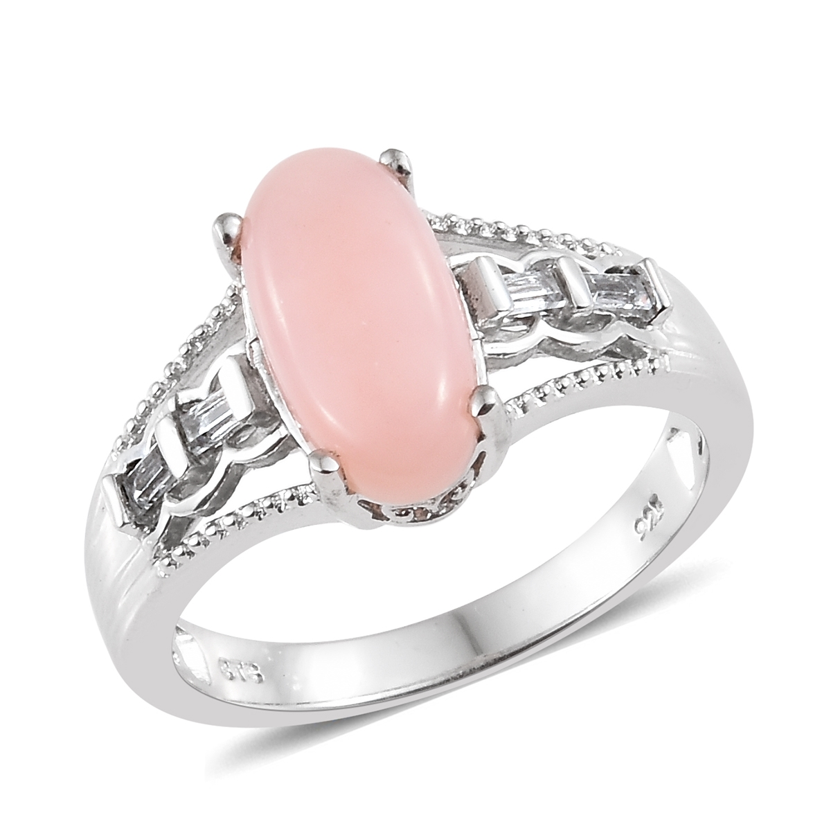 Peruvian Pink Opal, White Topaz Platinum Over Sterling Silver Ring ...