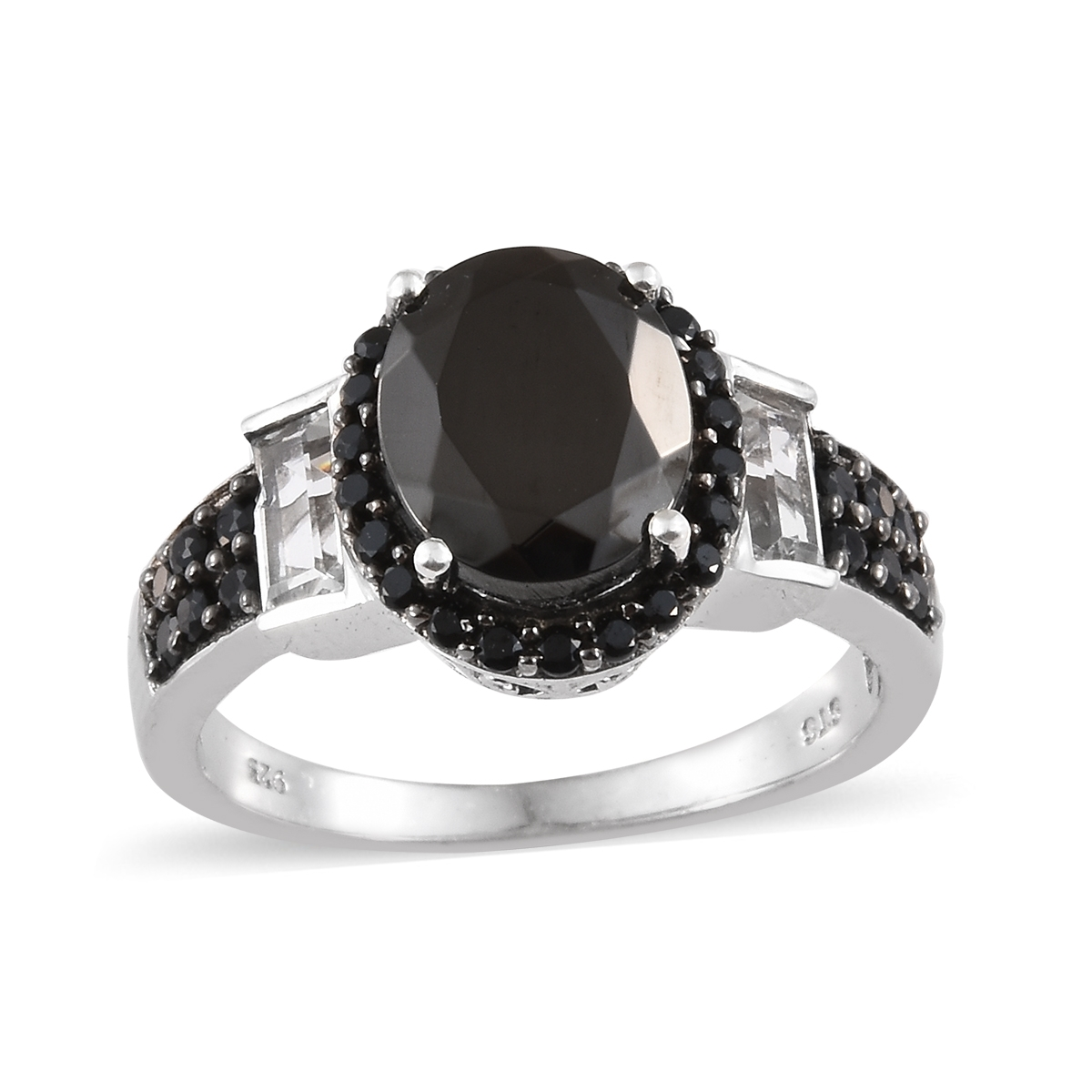33292fc4cafde Shungite, Multi Gemstone Platinum Over Sterling Silver Ring (Size 6.0) TGW  4.02 cts.