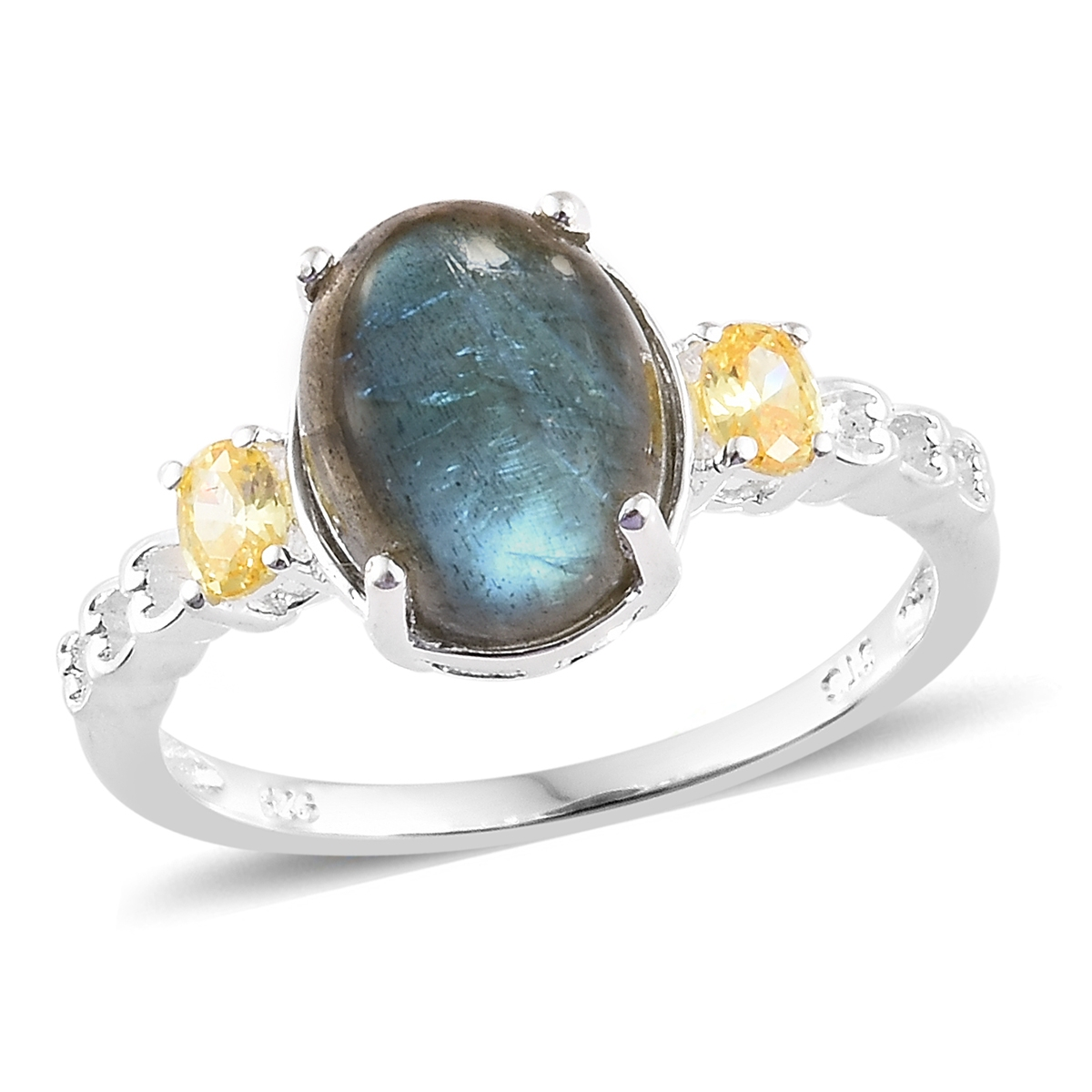 cad4bce265 Malagasy Labradorite, Simulated Yellow Diamond Sterling Silver Ring (Size  6.0) TGW 5.10 cts. | Shop LC