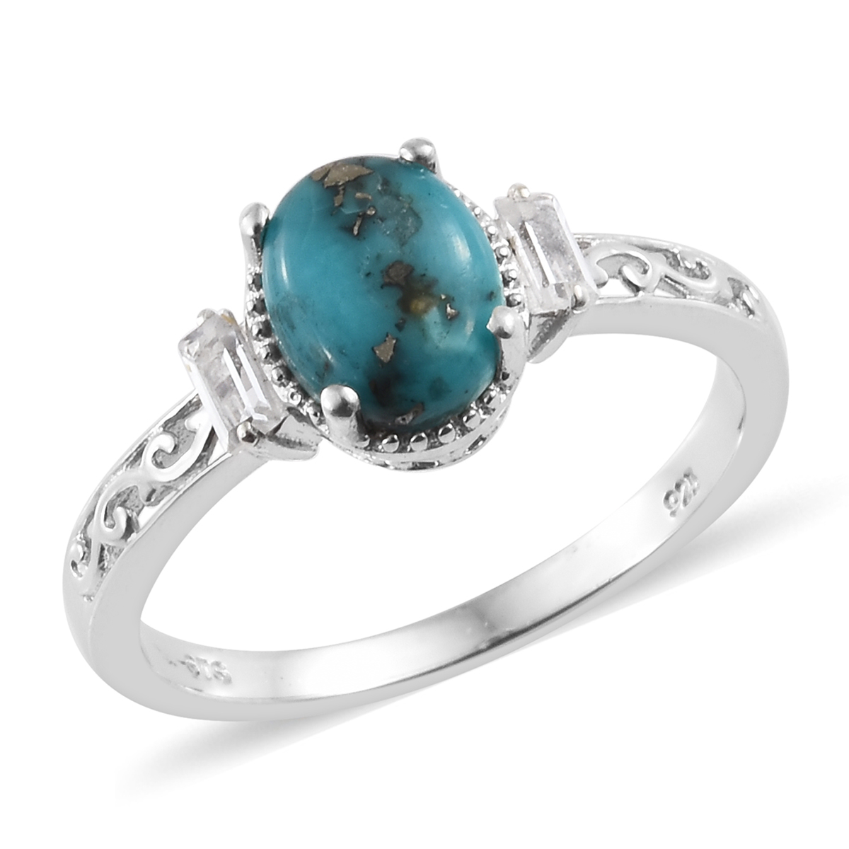 bb87cc84d Persian Turquoise, White Topaz Platinum Over Sterling Silver Ring (Size  6.0) TGW 2.05 cts. | Shop LC