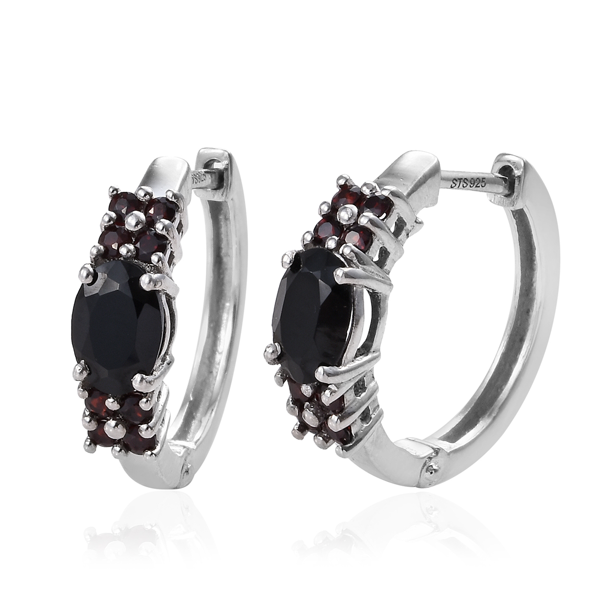 89acf72e5 Details about Silver Platinum Plated Black Spinel Garnet Huggies Hoops Hoop  Earrings Cttw 2.1