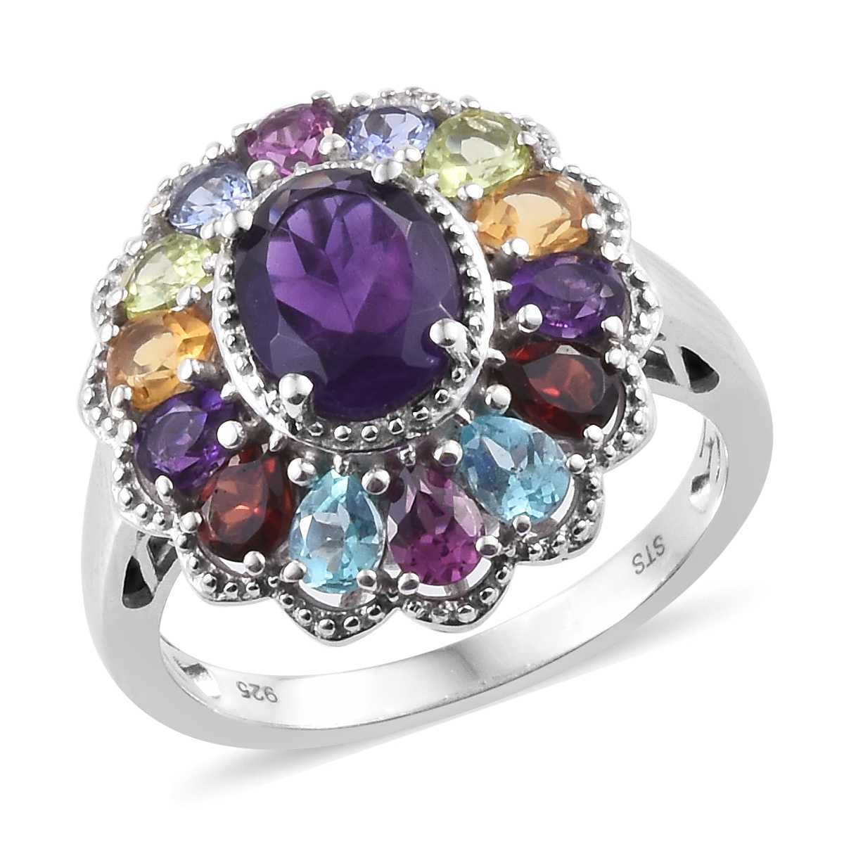 Lusaka Amethyst, Multi Gemstone Platinum Over Sterling Silver Ring (Size  8 0) TGW 3 93 cts