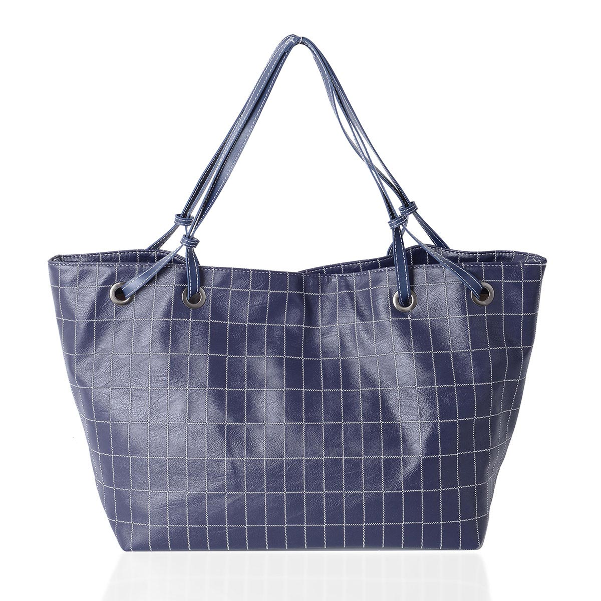 4416b48ec7ca Navy Faux Leather Checker Pattern Tote Bag (21x14.2x11.8 in)