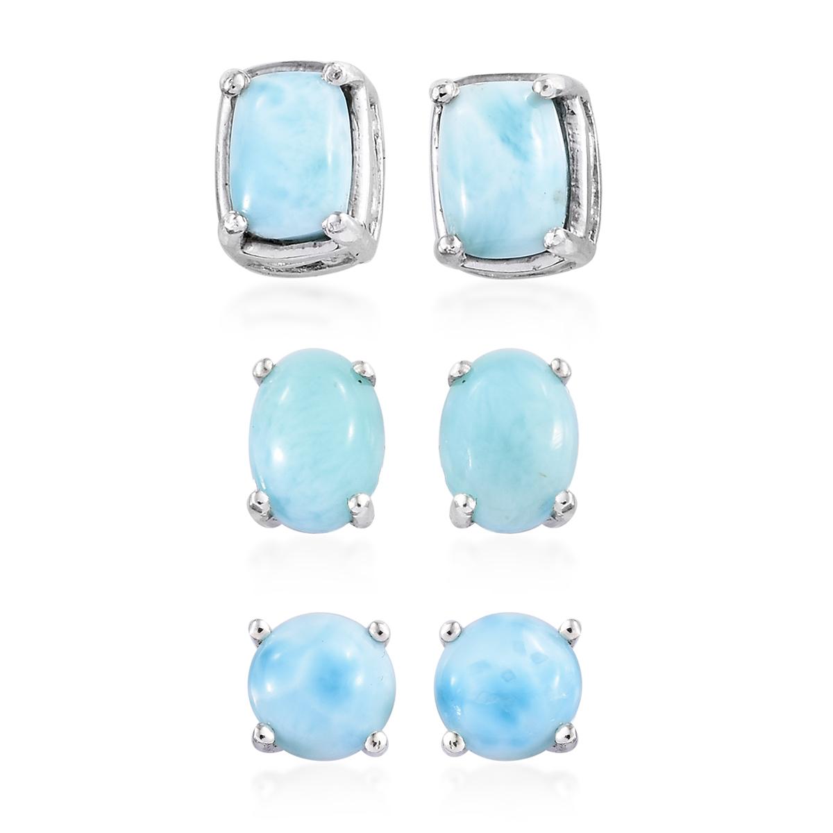fd745e299 Set of 3 Larimar Platinum Over Sterling Silver Stud Earrings 6.91 ctw ...