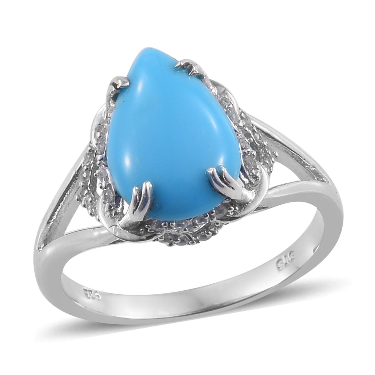 032355ba0fc901 Arizona Sleeping Beauty Turquoise, Cambodian Zircon Platinum Over Sterling  Silver Ring (Size 11.0) TGW 5.11 cts. | Arizona-Sleeping-Beauty-Turquoise  ...