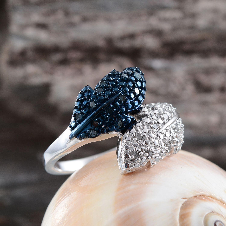 Blue Diamond IR Diamond Platinum Over Sterling Silver Ring Size