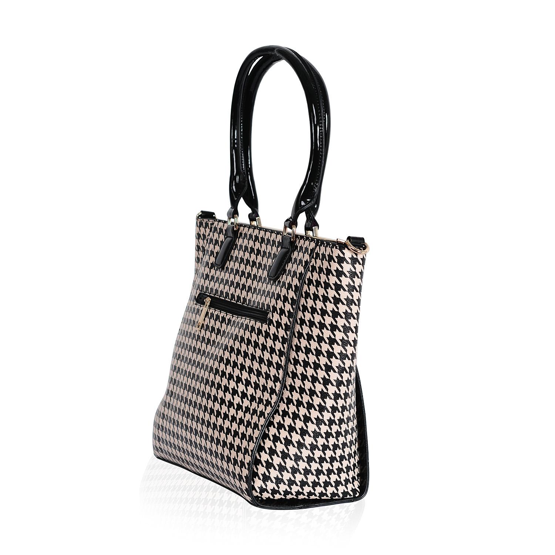 fc7d18e19456 ... Black and Beige Houndstooth Print Vegan Leather Handbag (14x5x12 in) ...