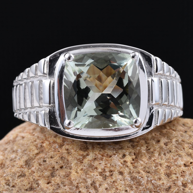 green amethyst platinum sterling silver s ring