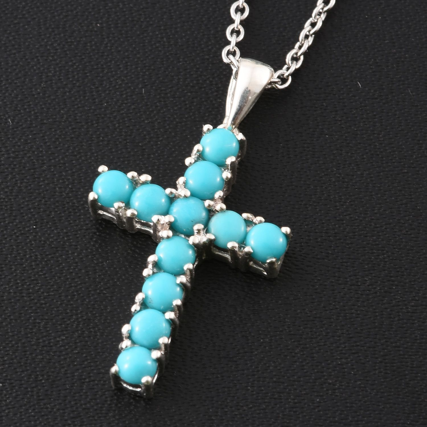Arizona sleeping beauty turquoise sterling silver cross pendant with arizona sleeping beauty turquoise sterling silver cross pendant with stainless steel chain 20 in tgw 102 cts 2632971 aloadofball