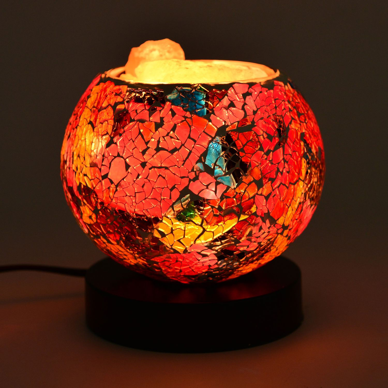 Handcrafted Multi Color Mosaic Electric Lamp with Himalayan Salt (5 in) lighting decor ...
