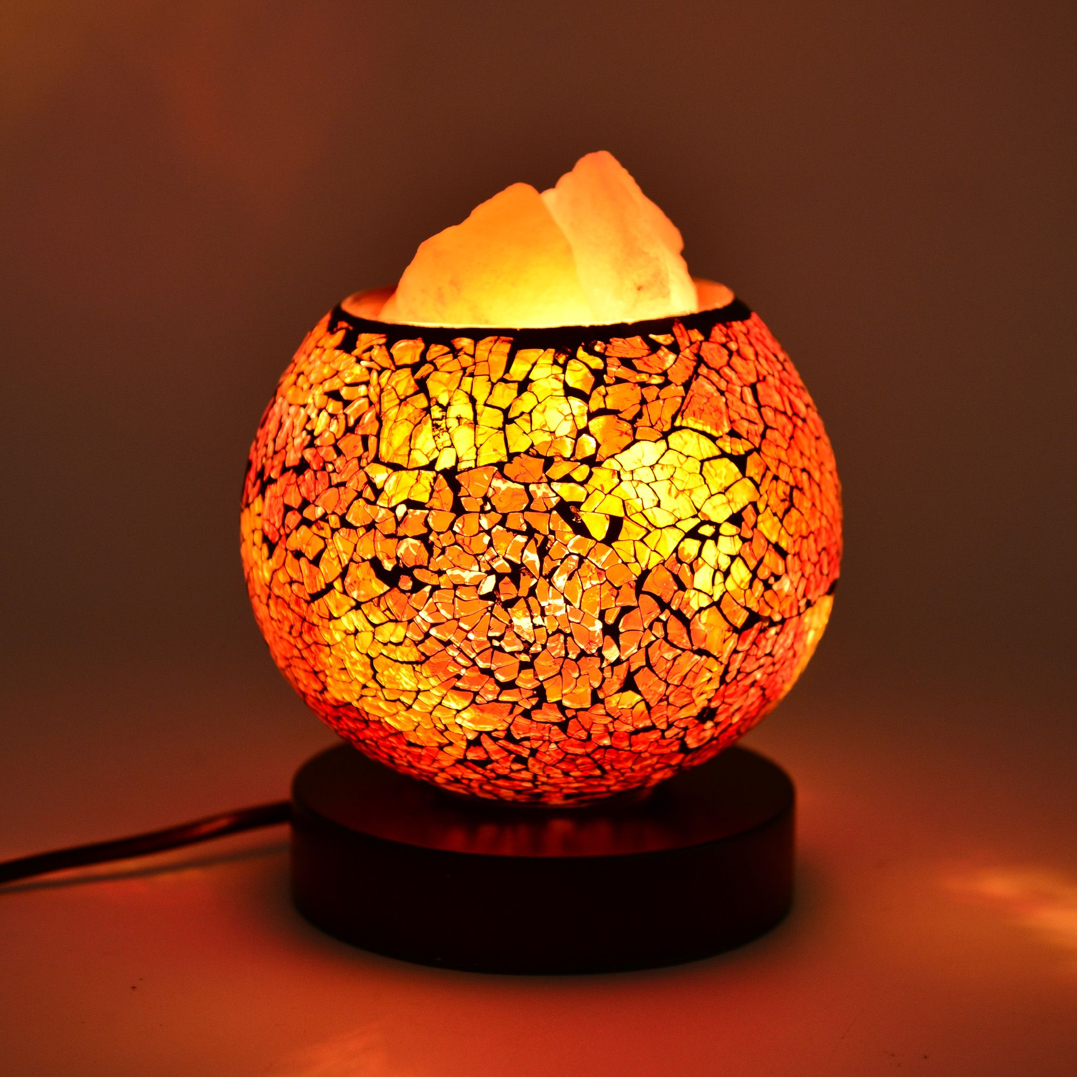 Handcrafted Red and Yellow Mosaic Electric Lamp with Himalayan Salt (5 in) lighting decor ...